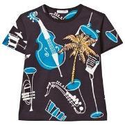 Dolce & Gabbana Instrument och Palm Print T-shirt Marinblå 2 years